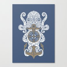 Octopus anchor and compass in tribal style Canvas Print