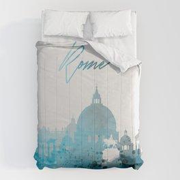 Rome Italy Monochrome Blue Skyline Comforters