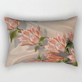 """Coral flowers on white silk"" (Air Spring) Rectangular Pillow"