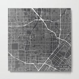 Santa Ana Map, USA - Gray Metal Print