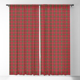Christmas Berry Red and Green Tartan with Beige and White Lines Blackout Curtain