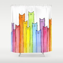 Cat Rainbow Watercolor Whimsical Animals Cats Pattern Shower Curtain
