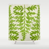 lime Shower Curtains featuring Lime Fern by Cat Coquillette