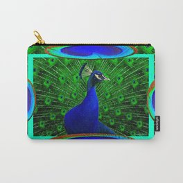 Decorative Blue & Green Peacock Art Design Carry-All Pouch