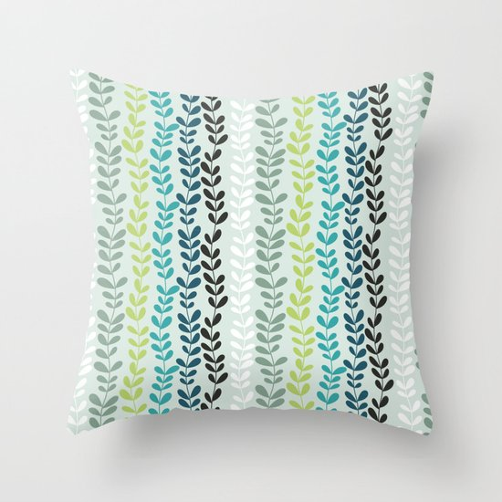 Blue and mint floral Throw Pillow