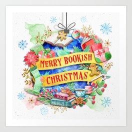 Merry Bookish Christmas Art Print