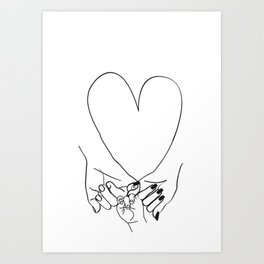 Parent Pinky Promise Family Line Art Mother Father Baby Art Print
