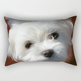 Cute Maltese asking for a treat Rectangular Pillow