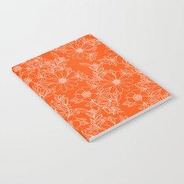 Hand drawn white bright orange modern floral Notebook