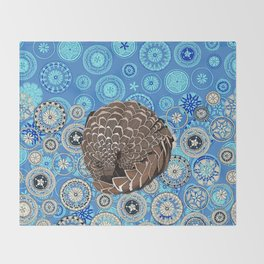pangolin mandala blue Throw Blanket