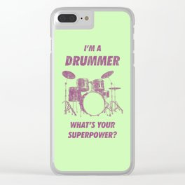 I'm Drummer What's Your Superpower Funny Drums Vintage Drumming Distressed Clear iPhone Case