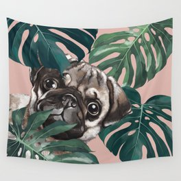 Pug with Monstera Leaf Wall Tapestry