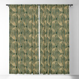 Zen Circles Block Print In Green and Gold Blackout Curtain
