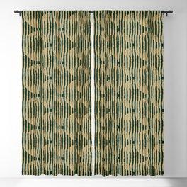 Zen Circles Block Print In Green and Gold Blackout Curtain
