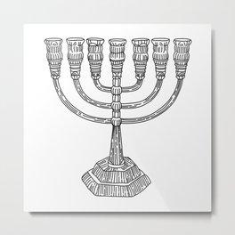 vector doodle menorah, chanukah holiday Metal Print