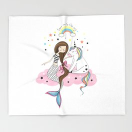 Mermaid & Unicorn White background Throw Blanket