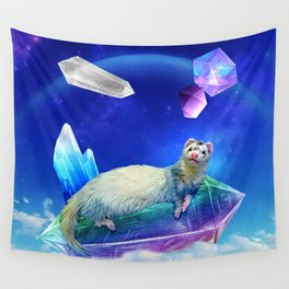 Ferret in the Sky with Crystals Wall Tapestry