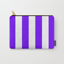 Vertical Stripes - White and Indigo Violet Carry-All Pouch