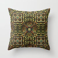stargate Throw Pillows featuring Stargate - Mayan Edition by Lyle Hatch