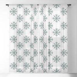 Snowflakes (Dark Green & White Pattern) Sheer Curtain