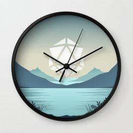 Sunrise Between Mountains Lake D20 Dice Sun Tabletop RPG Landscape Wall Clock