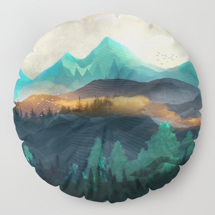 Green Wild Mountainside Floor Pillow