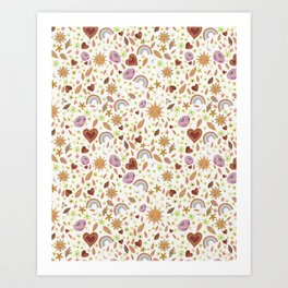 Happy Day Moons and Suns White Art Print