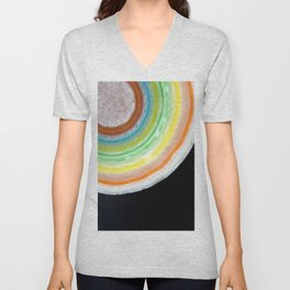 Colorful Abstract Slice of Giant Jawbreaker Candy Unisex V-Neck