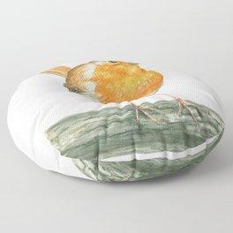 Robin bird watercolor art Floor Pillow