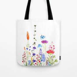 colorful wild flowers watercolor painting Tote Bag