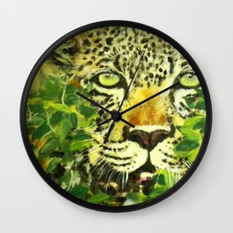 Wildlife Painting Series 3 - Leopard in preying pose Wall Clock