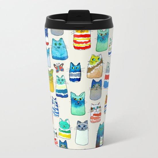 Lots of Watercolor Kitty Cats Metal Travel Mug