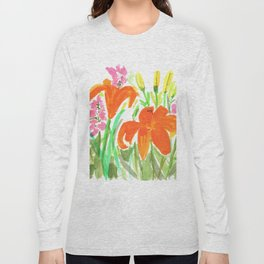 Orange Summer Lilies and Pink Flowers / Wildflowers / Summer Fields of Flowers Long Sleeve T-shirt