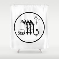 scorpio Shower Curtains featuring Scorpio by Peczulis