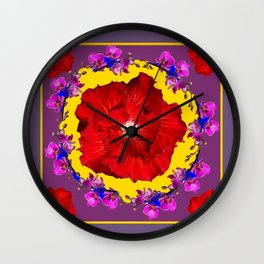 Puce Red Hibiscus Tropical  Flowers Purple-Yellow Art Wall Clock