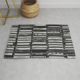 Cassette Tapes Pattern (Black and White) Rug