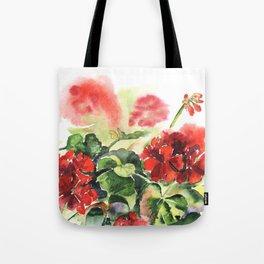plant geranium, flowers and leaves, watercolor Tote Bag