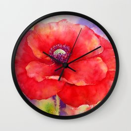 Watercolor Abstract Red Poppy Wall Clock