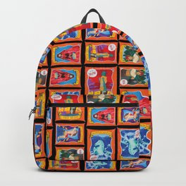 Sideshow Banner Multi-Print Pattern on Black Backpack