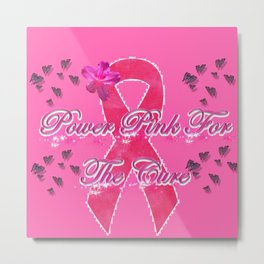 Power Pink for the Cure - Butterfly Blitz Metal Print