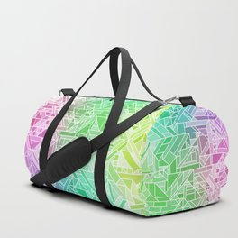 Bright Gradient (Violet Purple Lime Green Neon Yellow) Geometric Pattern Print Duffle Bag