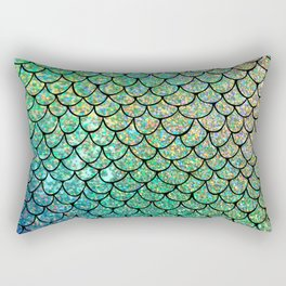 Colorful Glitter Mermaid Scales II Rectangular Pillow