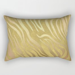 Golden Bronze Zebra Rectangular Pillow