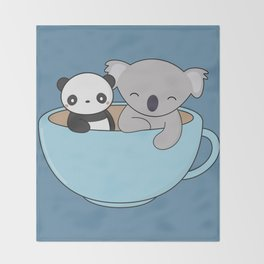 Kawaii Cute Koala and Panda Throw Blanket