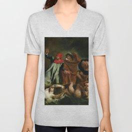 Eugne Delacroix - The Barque of Dante Unisex V-Neck