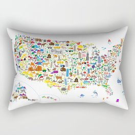 Animal Map of United States for children and kids Rectangular Pillow