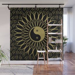 'Yin Yang Golden Daisy' Gold Black mandala Wall Mural