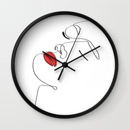 Women with Red Lipstick Wall Clock