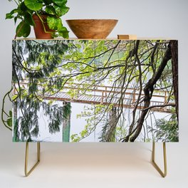RAINY SPRING DAY AT THE DOCK IN THE WOODS Credenza