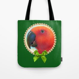 Red female eclectus parrot realistic painting Tote Bag